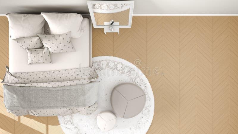 Comfortabele moderne oranje en beige slaapkamer met houten parketvloer, tapijt met poef en bed met minimale deken en hoofdkussens vector illustratie