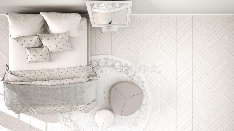 Comfortabele moderne witte en beige slaapkamer met houten parketvloer, tapijt met poef en bed met minimale deken en hoofdkussens, vector illustratie