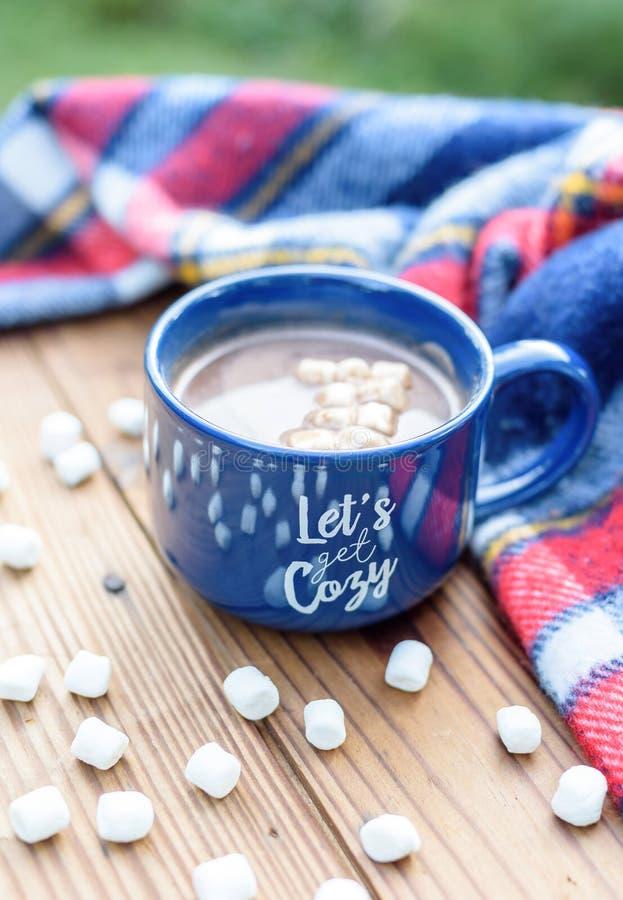 Comfortabele mok cacao op een de herfstdag stock afbeeldingen