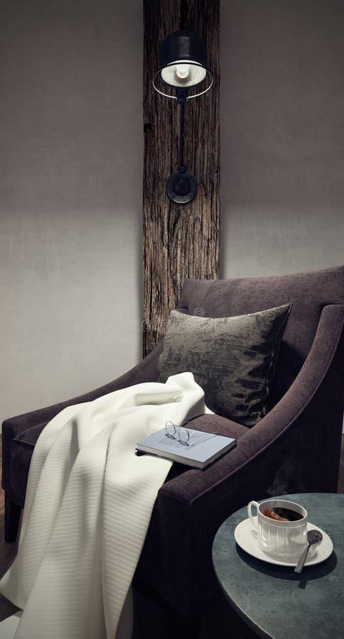 Comfortabele plaats voor lezing in uw huis stock illustratie