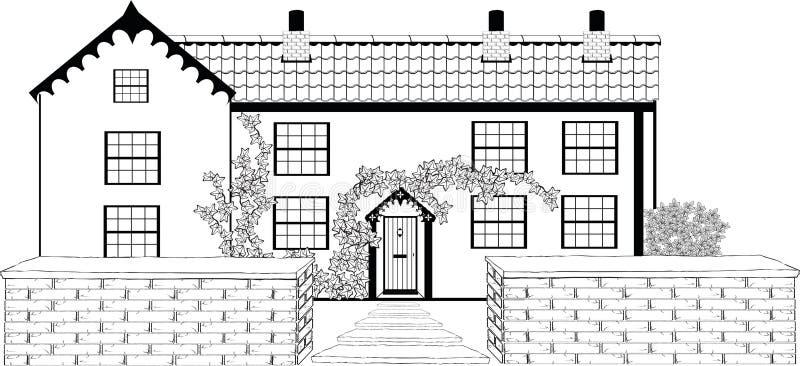 Comfortabele Plattelandshuisjeschets vector illustratie