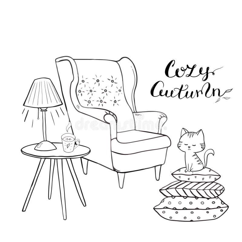 Comfortabele ruimte, de geschetste reeks van de theetijd Vector Comfortabele huisdingen zoals thee, kat, stoel, hoofdkussens, boe vector illustratie