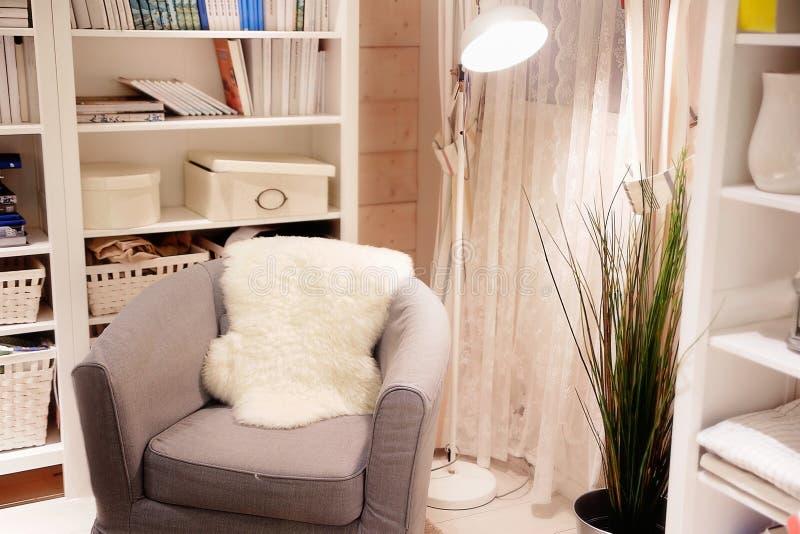 Comfortabele ruimte in lichte kleuren royalty-vrije stock afbeelding