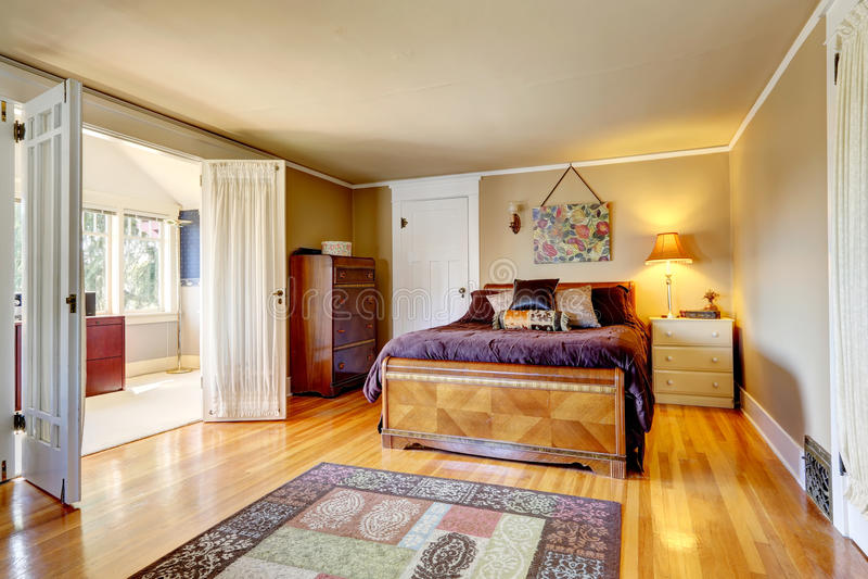 Comfortabele slaapkamer met stakings heldere ruimte stock afbeeldingen