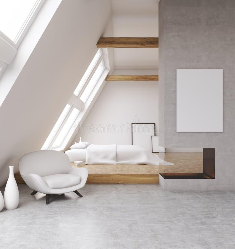 Comfortabele slaapkamer in zolder vector illustratie