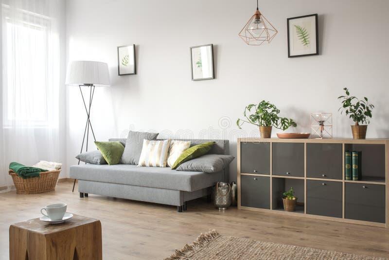 Comfortabele woonkamer met bank stock afbeeldingen