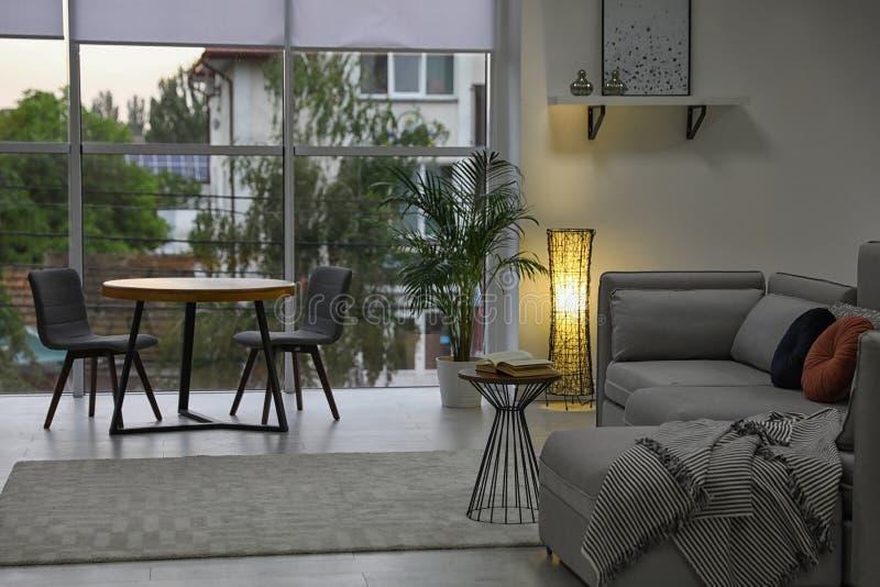 Comfortabele woonkamer met modern meubilair en modieus decor stock afbeeldingen