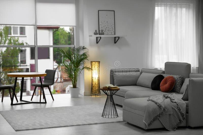 Comfortabele woonkamer met modern meubilair en modieus decor stock afbeelding