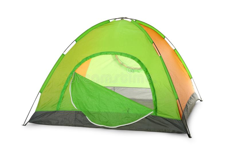 Comfortable colorful camping tent on white. Background stock image