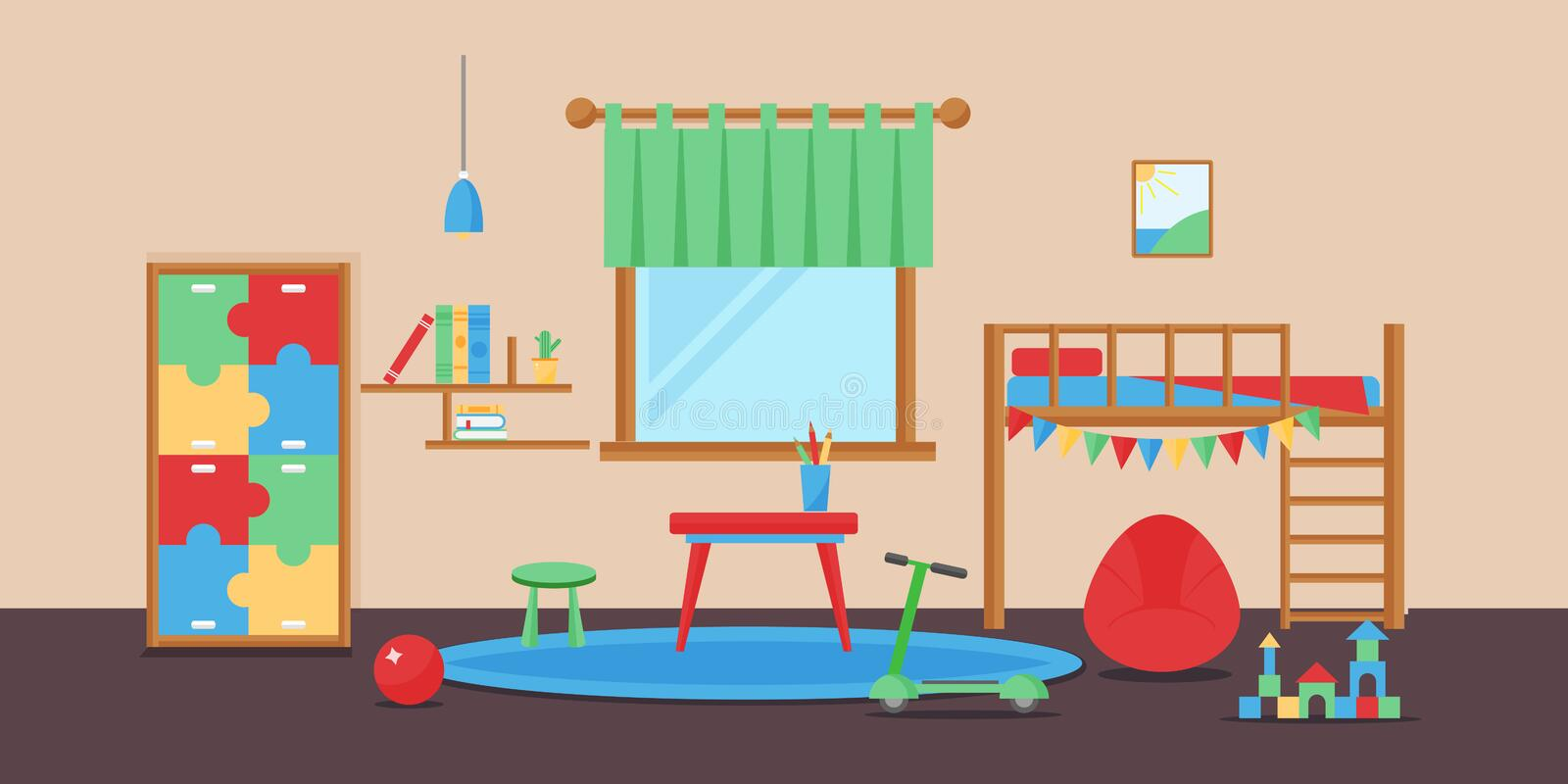 Comfortable cozy baby room decor children bedroom interior with furniture and toys vector. vector illustration