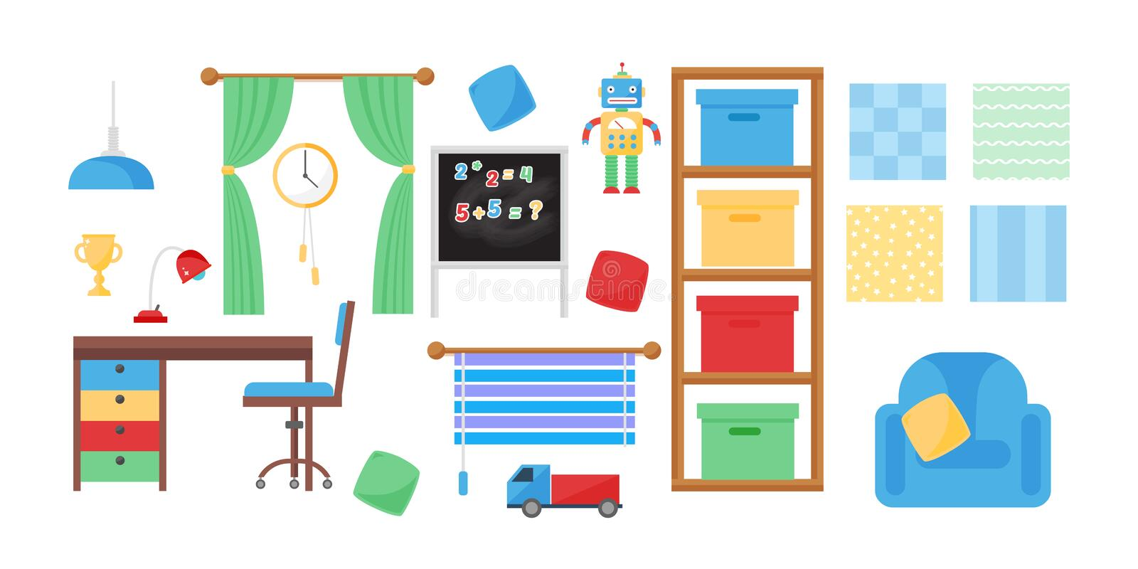 Comfortable cozy baby room decor children bedroom interior with furniture and toys vector. royalty free illustration