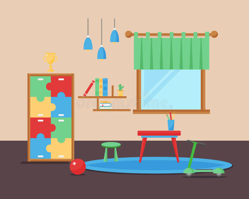Comfortable cozy baby room decor children bedroom interior with furniture and toys vector. stock illustration