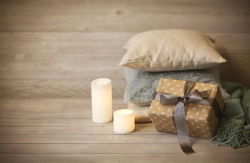 Comfortable Cushions, Candles And Present In Cozy Living ...