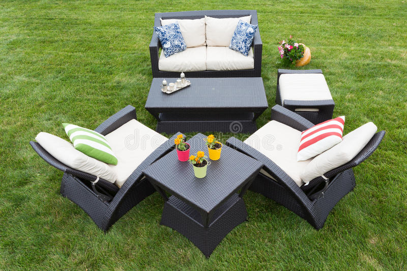 Comfortable deep modern garden furniture royalty free stock images