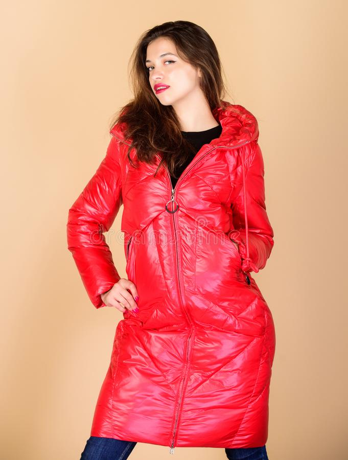 Comfortable down jacket. Red color. Finding right winter jacket is essential to enjoyable and bearable winter season stock photography