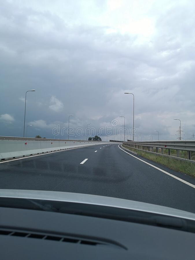 Driving on the highway. royalty free stock photos