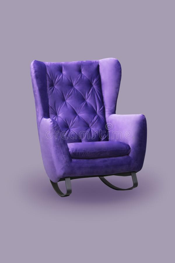 Comfortable fashionable rocking chair, purple sofa, isolate stock photo