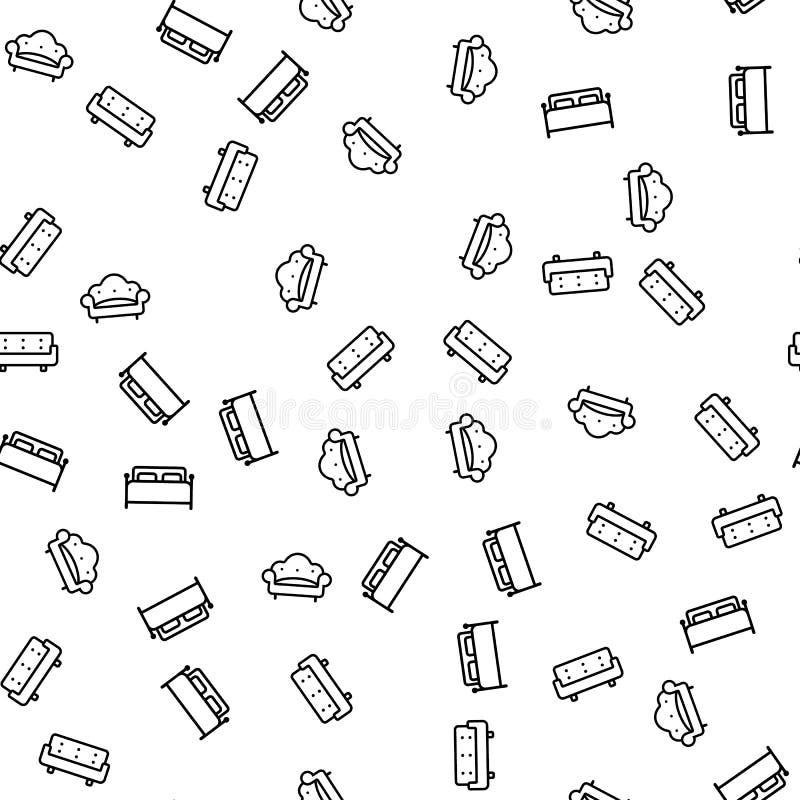 Comfortable Furniture Seamless Pattern Vector stock illustration