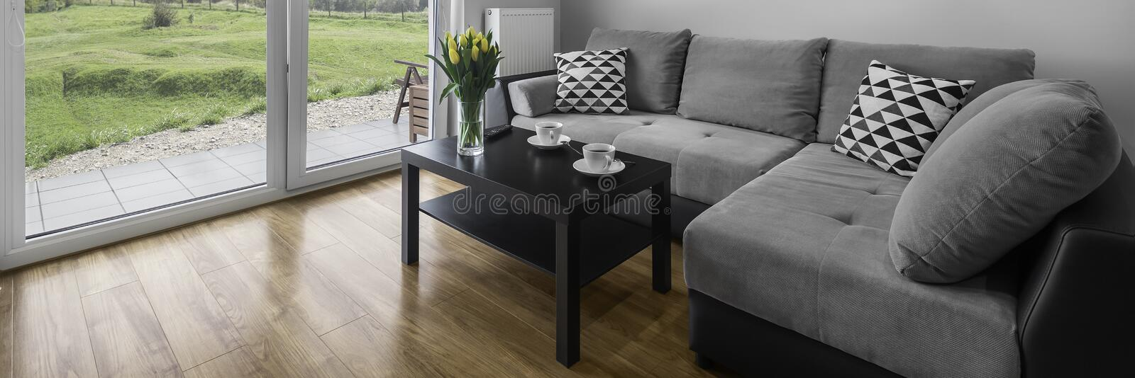 Comfortable grey couch. Panoramic view of comfortable grey couch in modern living room royalty free stock photography