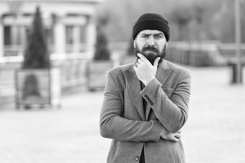 Comfortable with his style. Hipster outfit and hat accessory. Casual outfit spring season. Menswear and male fashion. Concept. Man bearded hipster stylish royalty free stock photos