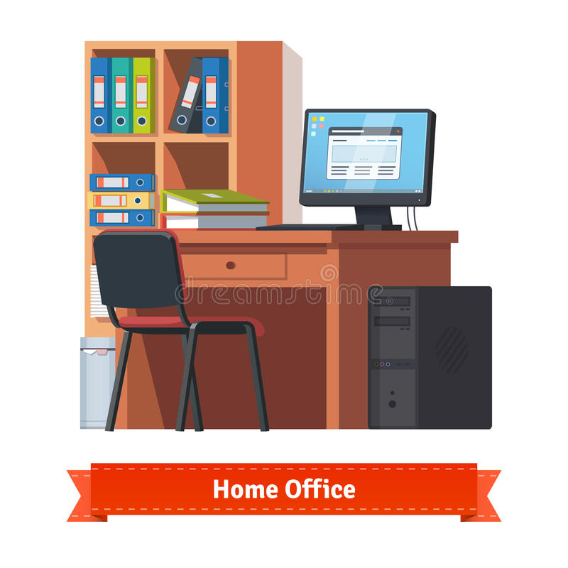 Comfortable home workplace with desktop. On the desk, chair and a bookcase. Flat style illustration or icon. EPS 10 vector stock illustration
