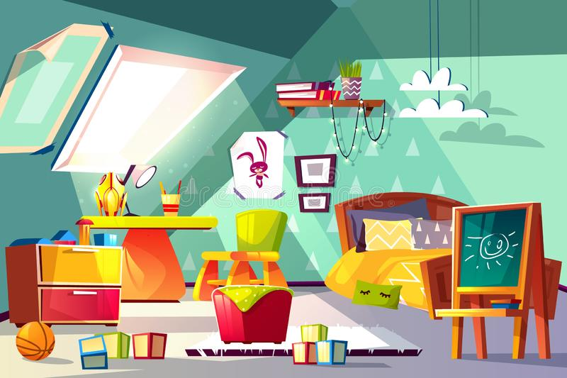Comfortable kids room on mansard cartoon vector royalty free illustration