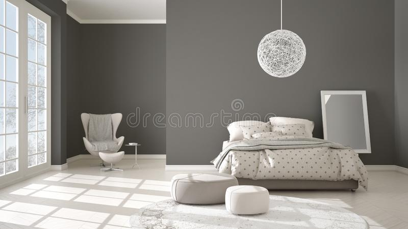 Comfortable modern gray and beige bedroom with wooden parquet floor, panoramic window on winter landscape, carpet, armchair and vector illustration