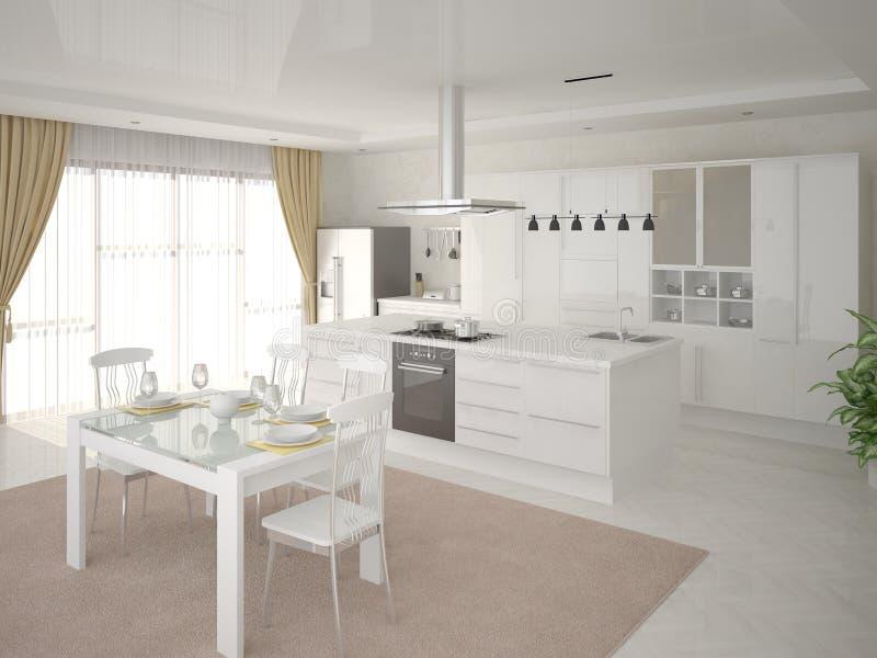 Comfortable modern kitchen stock illustration