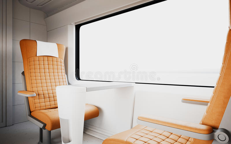 Download Comfortable Modern Orange Color Leather Armchair Inside First Class  Cabin Fast Speed Train Empty
