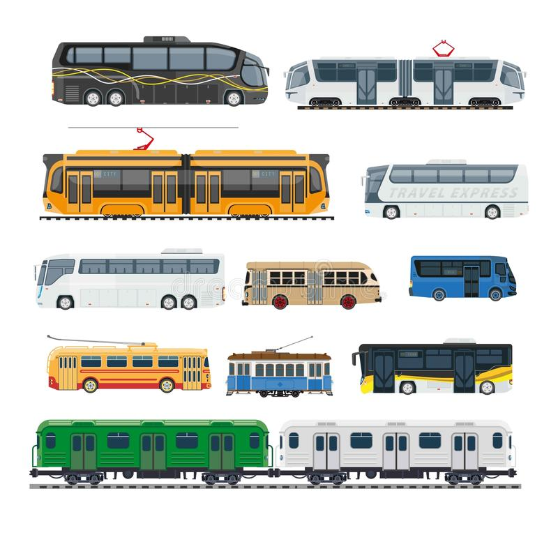 Comfortable modern public transport big isolated illustrations set royalty free illustration