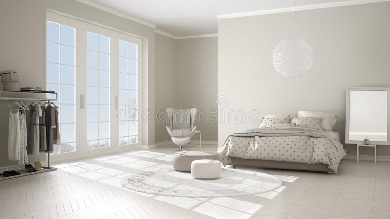 Comfortable modern white and beige bedroom with wooden parquet floor, panoramic window on winter landscape, carpet, armchair and royalty free illustration