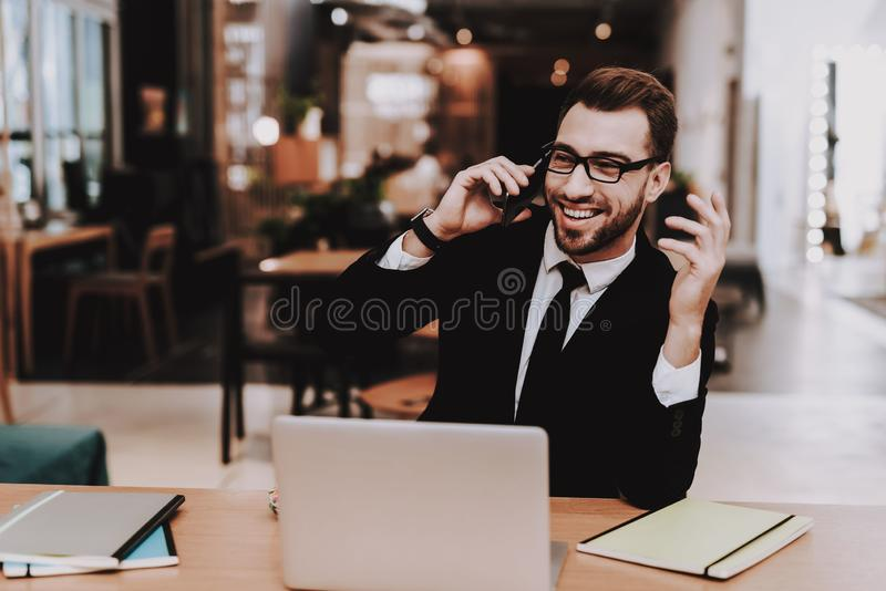 Comfortable Office. Business Suit. Talking. Phone royalty free stock photo