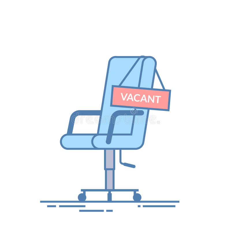 Comfortable office chair with a vacancy sign. Business hiring and recruiting abstract concept. Search for a new employee vector illustration