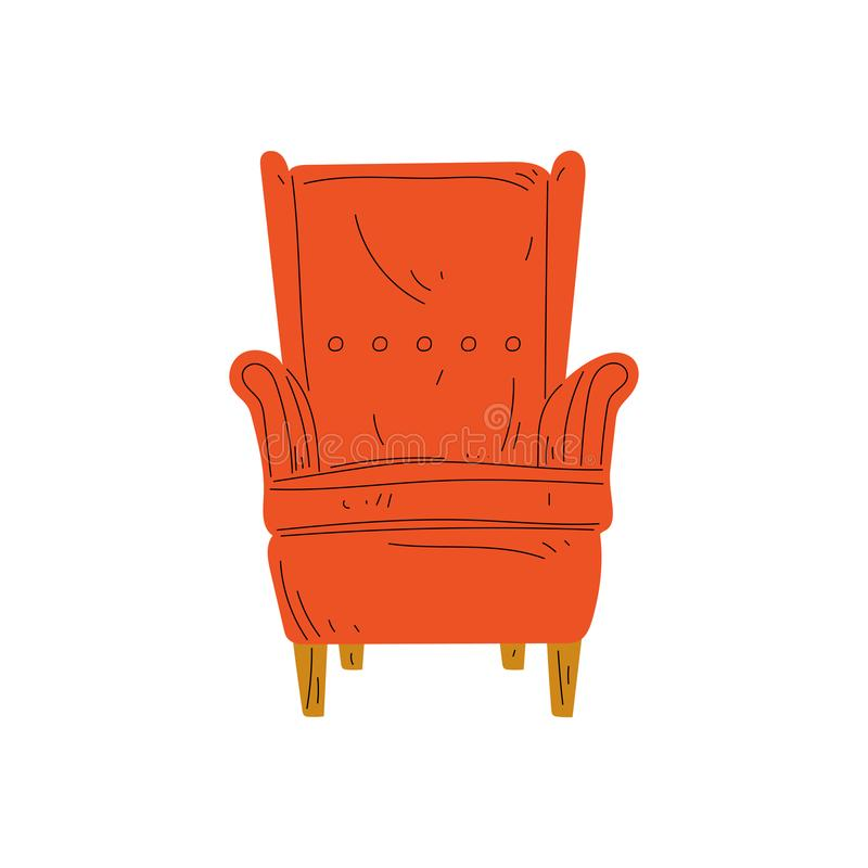 Comfortable Orange Red Armchair, Cushioned Furniture with Upholstery, Interior Design Element Vector Illustration royalty free illustration