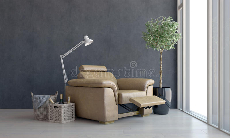 Comfortable recliner chair with view window stock image
