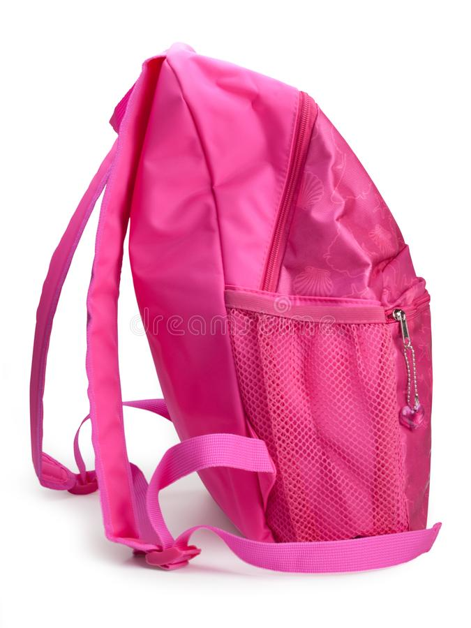 Comfortable school backpack for girls pink color. Comfortable school backpack for girls pink color , isolated on white background. clipping path stock photo