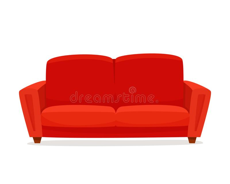 Comfortable sofa on white background. Isolated red couch lounge in interior. Flat cartoon style vector illustration vector illustration