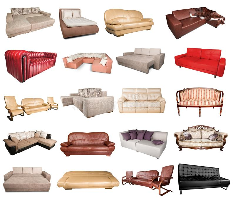 Comfortable Sofas. Leather Furniture Isolated Brown Single Object White royalty free stock photography