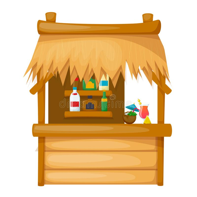 Comfortable wooden dwelling on the beach, thatched-roof bungalow. Comfortable wooden dwelling on the beach, thatched-roof bungalow on the pier along tropical royalty free illustration