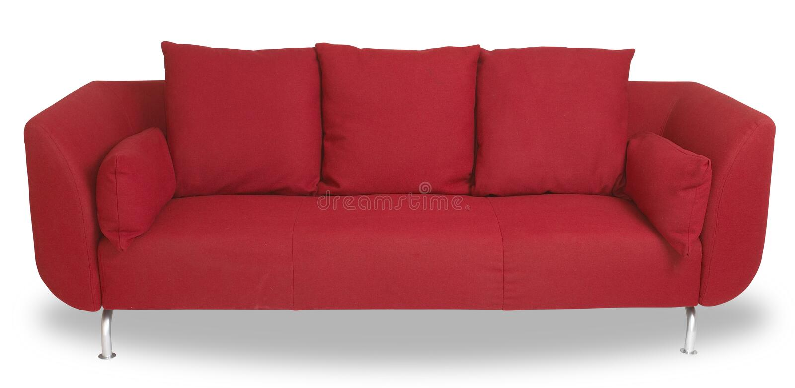 Comfy red couch sofa isolated with path. A comfy red couch sofa isolated on white with clipping path stock images