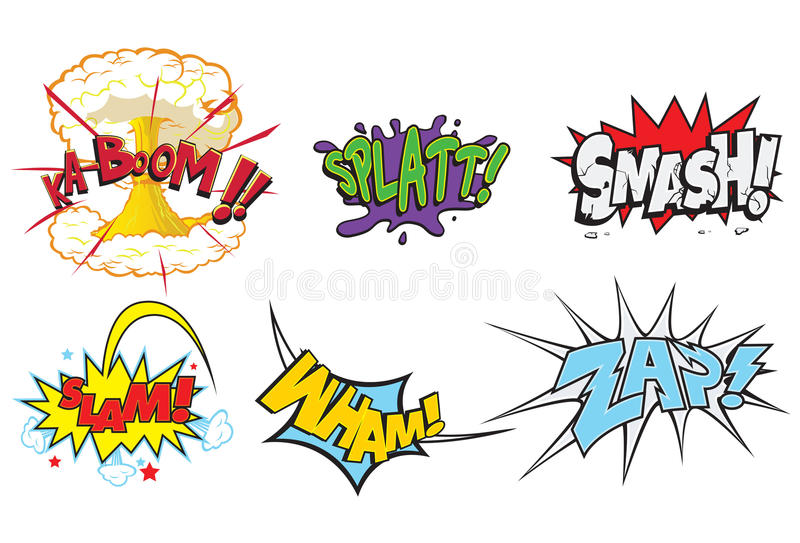 Comic Action Words royalty free stock photo
