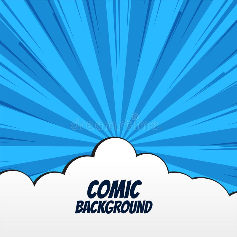 Comic background with clouds and rays vector illustration