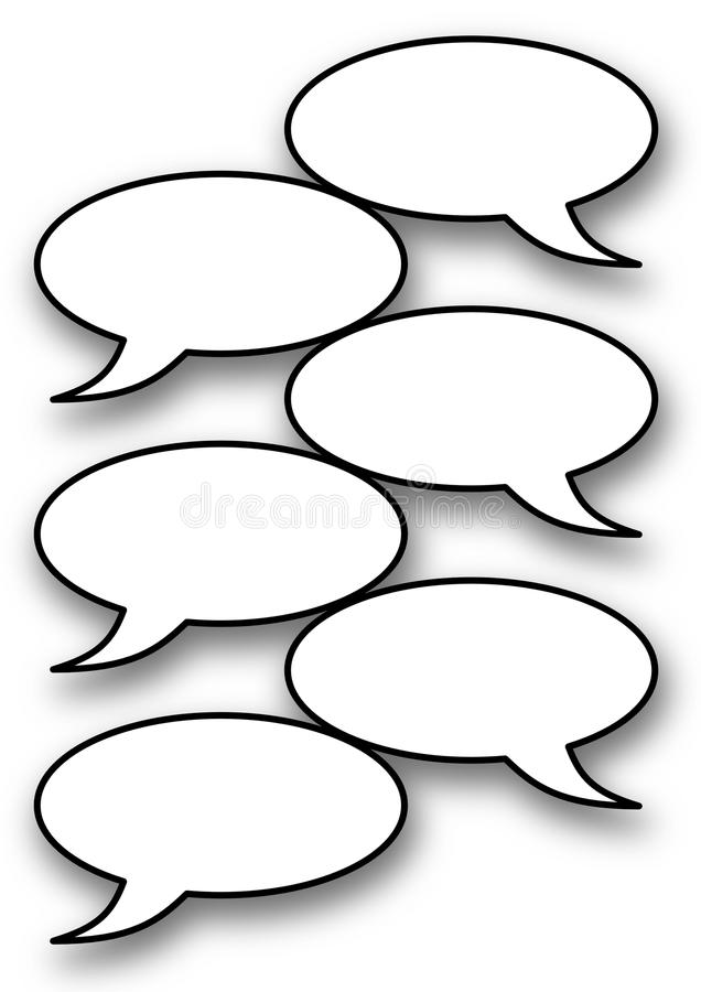 Comic balloons. Empty comic balloons on white background with shadows royalty free illustration