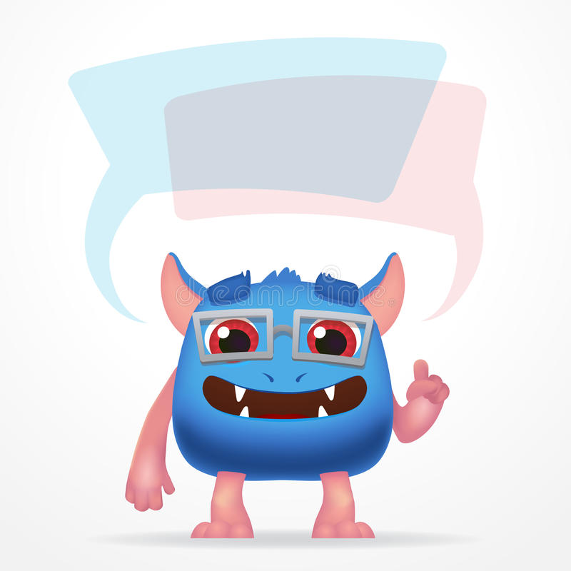 Comic Blue education monster. Cute character with watch, speech bubbles and glasses isolated on light background. stock illustration