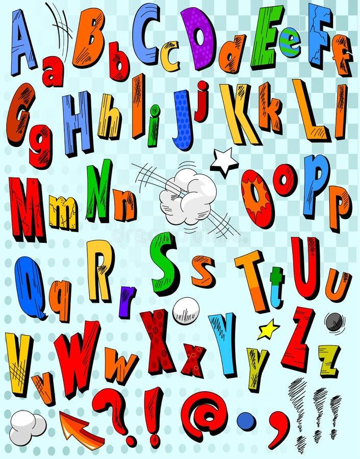Comic book alphabet royalty free illustration