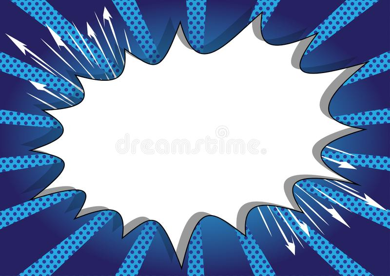 Comic book background with big blank explosion bubble on blue background. royalty free illustration