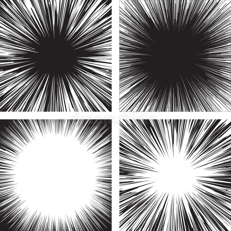 Comic book black. And white radial lines background Manga graphic speed frame Superhero action Explosion vector illustration Square fight stamp Sun ray Star stock illustration