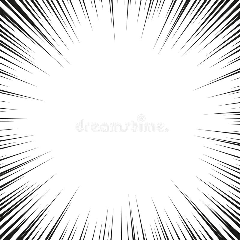 Comic book black and white radial lines background. Manga speed frame.Superhero action. Explosion vector illustration.  royalty free illustration