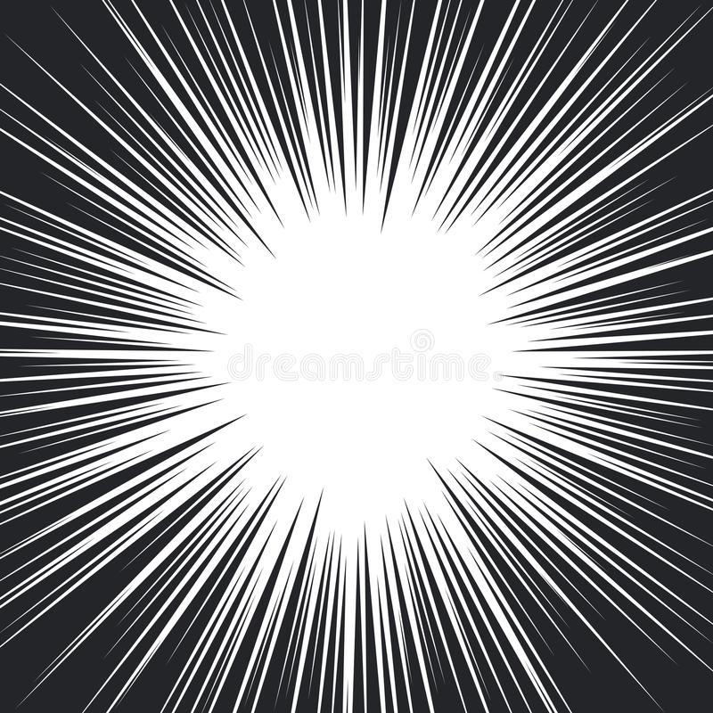 Comic Book Black and White Radial Speed Lines vector illustration