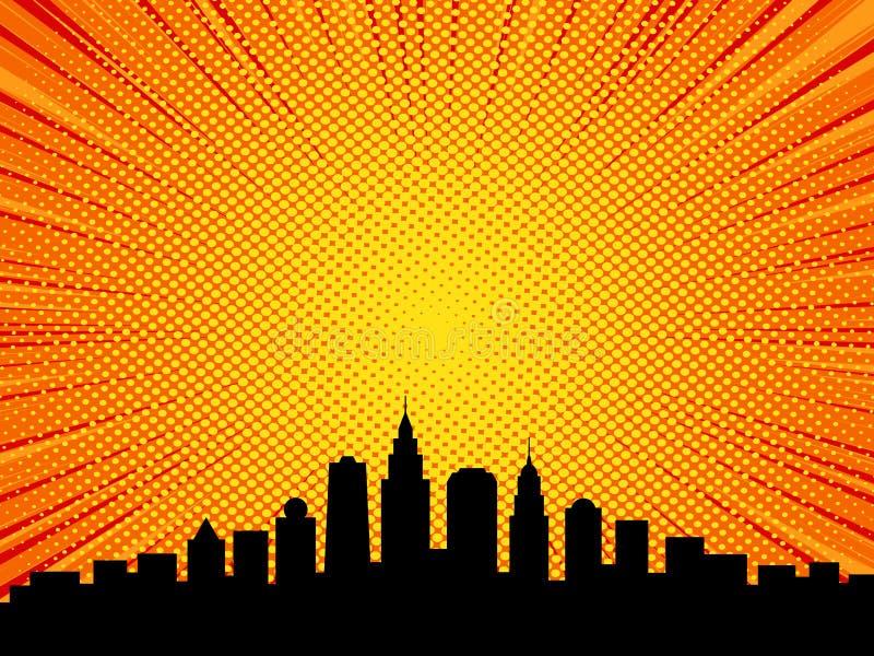 Comic book cartoon style city background royalty free illustration